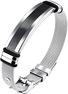 90ac1ed3545 Yellow Chimes Western Style Steel Strand Bracelet for Men (Silver)  (YCSSBR-G877DY