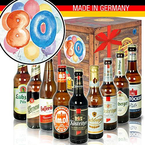Geschenk 80. Geburtstag - Bier-Box mit Bier aus Ostdeutschland