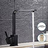 Easy_Buying Robinet de cuisine élégant et rétro avec bec haut, mitigeur pour lavabo, pour salle de bain, design noir