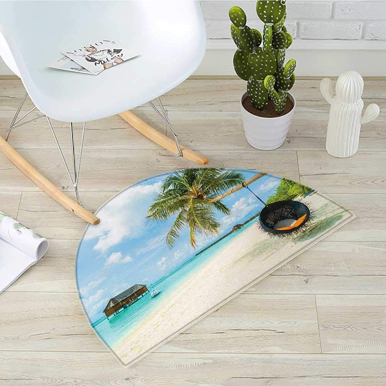 Ocean Semicircular CushionExotic Beach in The Maldives with Crystal Waters and Palm Trees on The Sand Tropical Decor Entry Door Mat H 39.3  xD 59  Multi