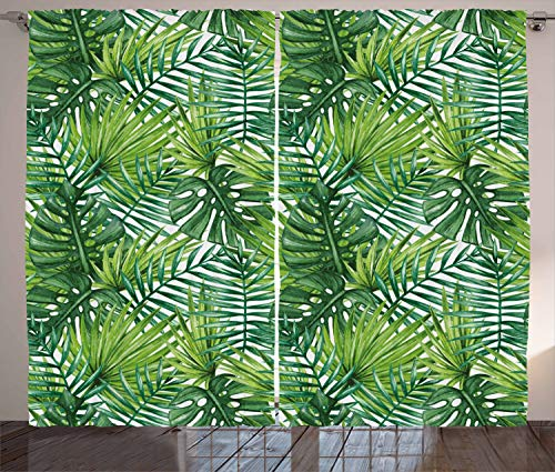 """Ambesonne Leaf Curtains, Tropical Exotic Banana Forest Palm Tree Leaves Watercolor Design Image, Living Room Bedroom Window Drapes 2 Panel Set, 108"""" X 96"""", Green"""