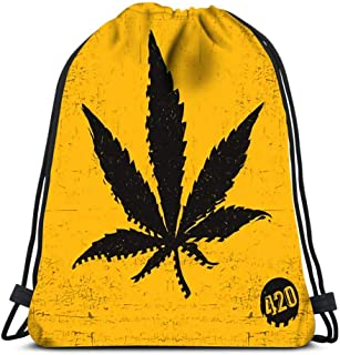 Mochila con Cordón,Bolsos De Gimnasio,Mochila Deportiva,Bolso Tirador De Cuerda,Hoja De Cannabis Negro sobre Amarillo Grunge