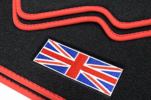 teileplus24 510 Esteras Coche,Union Jack' con Costuras Decorativas y Logotipo