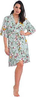 Habiba Cotton Elbow Sleeves Floral-Pattern Ruffle-Trim Belted Robe for Women 3XL