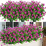 ArtBloom 6 Bundles Outdoor Artificial Flowers UV Resistant Fake Boxwood Plants, Faux Plastic Greenery for Indoor Outside Hanging Plants Garden Porch Window Box Home Wedding Farmhouse Decor (Magenta)