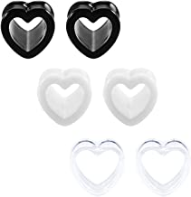 JFORYOU 6 Pcs Ear Tunnels Plugs Acrylic Heart Shaped Ear Expander Plugs Ear Piercing Ear Stretcher For Women and Men Gauge 5-25mm