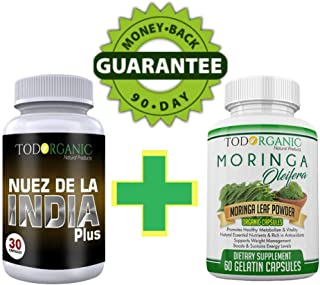 Indian Nut with Chia and Quinoa Plus Moringa Oleifera in Capsules 100% Authentic Fat Burner and Weight Loss The Perfect Combo for Cleanse and Detox