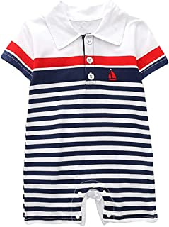 🌸Hot!! Baby Boys Girls Short Sleeve Rompers MS-SM Summer Newborn Infant Fashion Striped Print Jumpsuit Romper Clothes 3-2...
