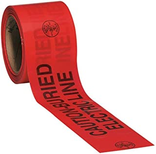 Klein Tools Fita de advertência de barricada 58002, 7,6 cm x 6,5 metros: Linha elétrica enterrada com cuidado