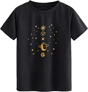 SheIn Women's Casual Short Sleeve Graphic Print Round Neck Tee Shirt Top