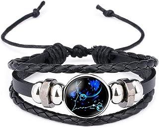 iEay Bijoux Mode Bracelets Chaîne de Cuir, Beau Gemme brillant Noyau de Verre forme Douze constellations(Part 2: Version d...