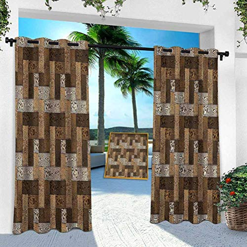 Aishare Store Outdoor Curtains for Porch, Chocolate,Wooden Parquet Motif, 52' x 108' Extra Wide Blackout Thermal Insulated Curtain Drape for Pergola/Sunroom(1 Panel)