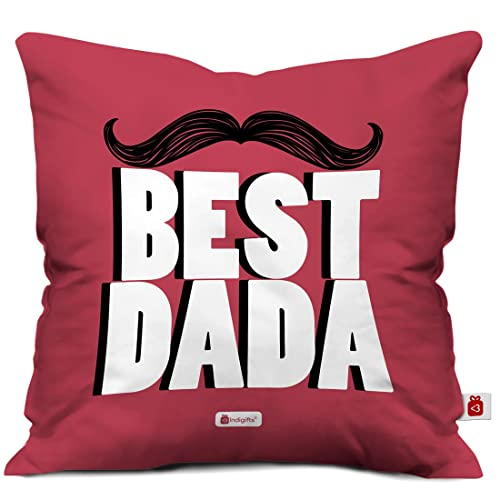 Indigifts Grandfather Birthday Gifts Best Dada Quote Retro Style Pink Cushion Cover 12x12 Inches With Filler