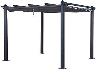BENEFFITO LEGZIRA - Pérgola Independiente de Aluminio y Acero - Techo retráctil - Tejido de poliéster Deslizante Resistente al Agua y Resistente a los Rayos UV - Gris - 3x3M