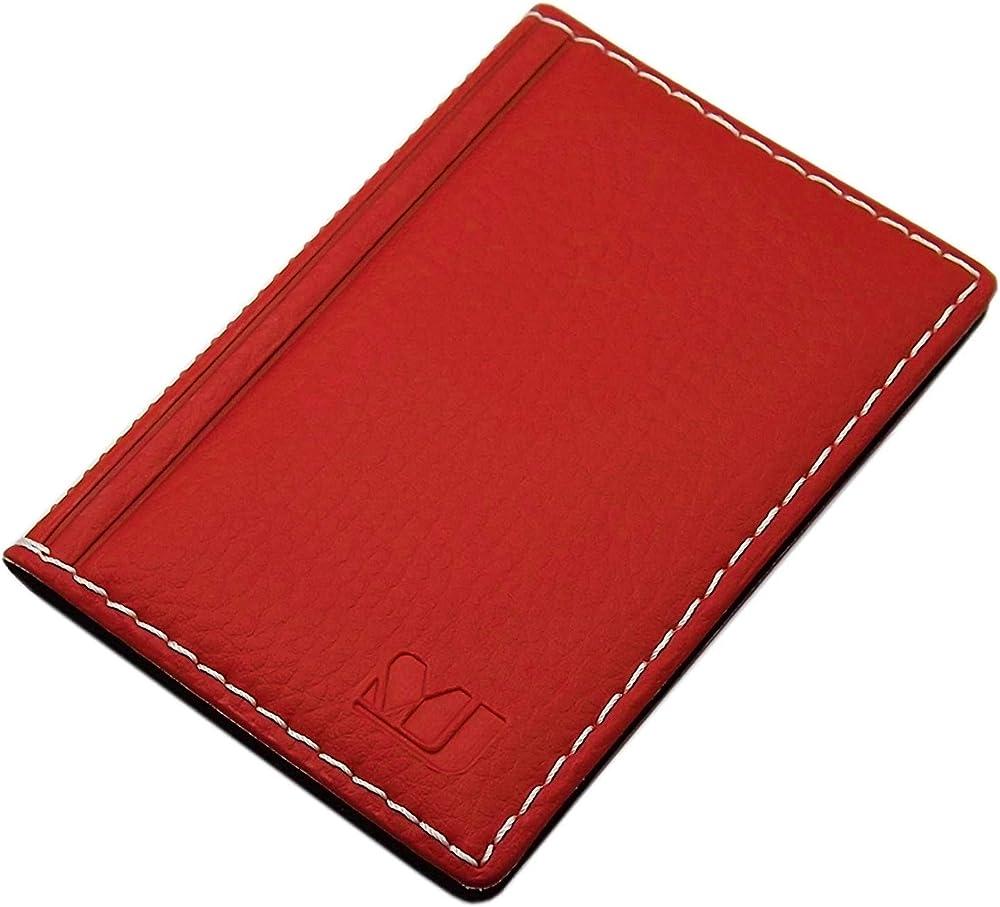 Myledershop, elegante custodia per carte di credito e biglietti da visita, 12 scomparti, in vera pelle, rosso2