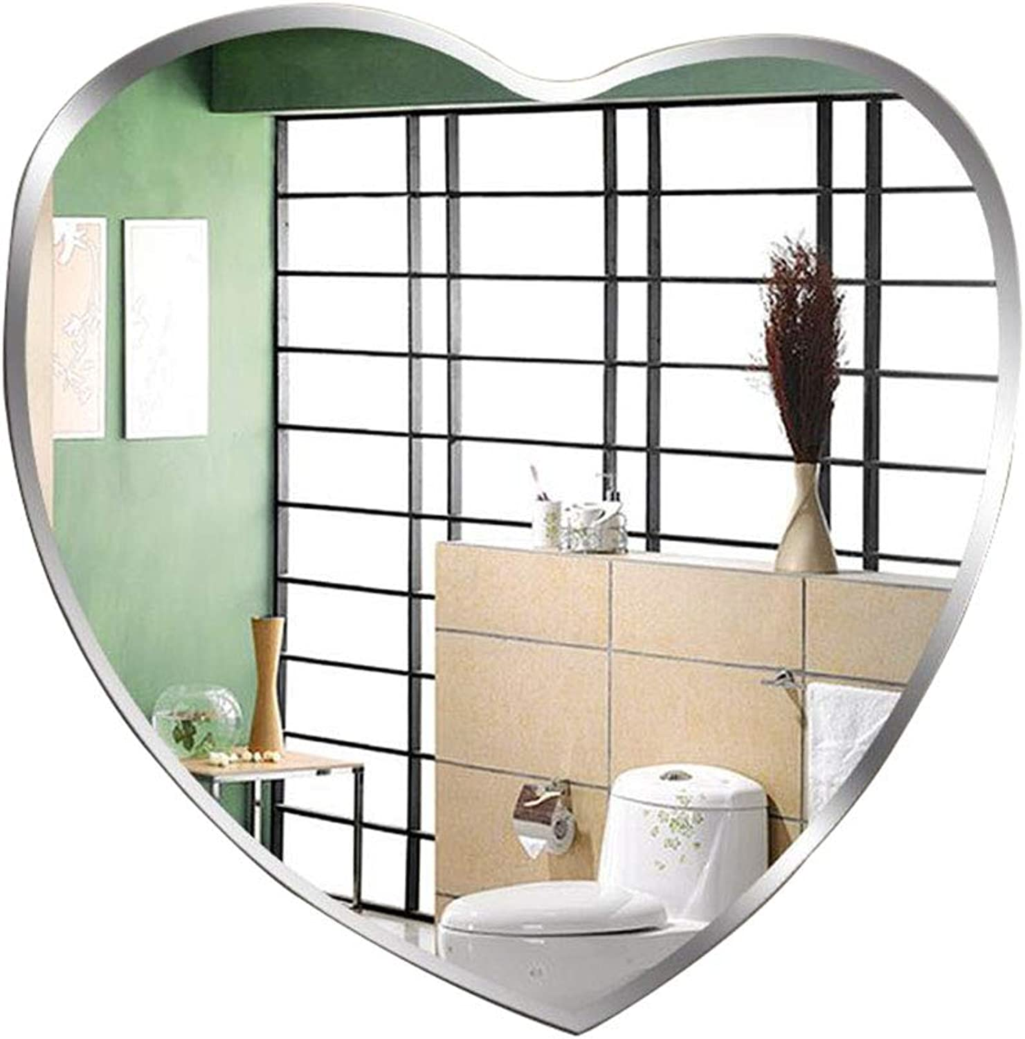 ALY Bathroom Mirror Wall-Mounted Silver Mirror Heart-Shaped Vanity Mirror Simple Modern Frameless Shaving Mirror for Home Hotel (25.19  23.62in)