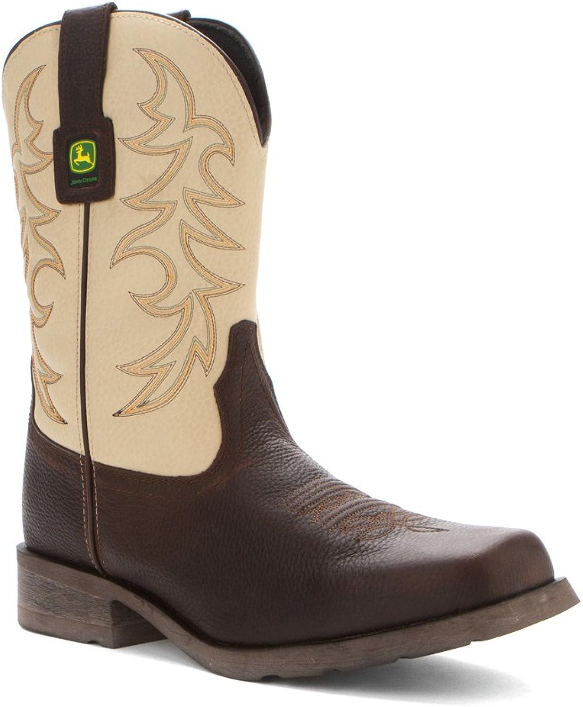 John Deere 10 inch Work Western Pull-on Boots Dark Brown