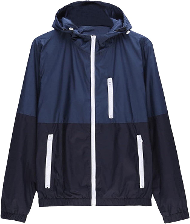 WSSW Rain Jacket Men Lightweight Raincoat Waterproof Windbreaker Patchwork Climbing Outdoor Hooded Trench Coats