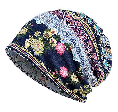 EEVASS Damen Baumwolle Elastisch Slouchy Beanie Hut Blumen Kappe Schal (#1 blau, 1)