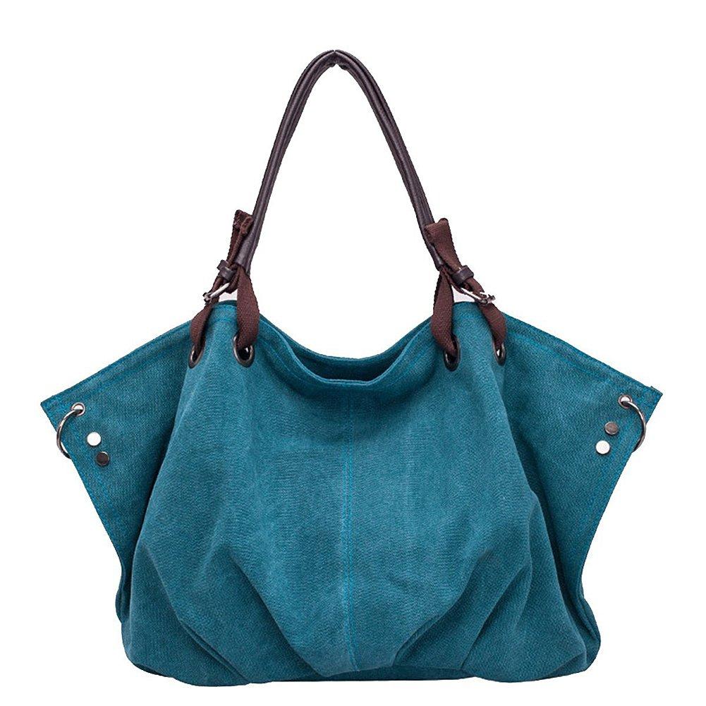 ieasysexy Women canvas Tote Top Handle Bag Hobo Shoulder Zipper Purse Large(Dark blue)