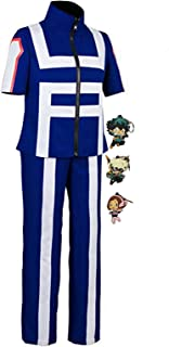 Bnha Mha My Hero Academia Cosplay UA Gymnastics Uniform Costume,with 3 Pack Deku Izuku Bakugou Uraraka Keychains