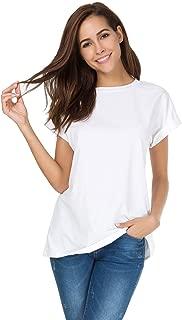 Women's Simple Crew Neck Plain Loose T-Shirt Summer Casual Tops