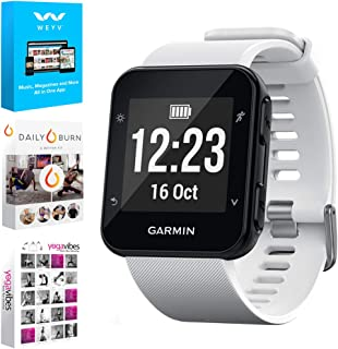 Garmin Forerunner 35 GPS Running Watch & Activity Tracker - White (010-01689-03) w/Tech Smart USA Fitness & Wellness Suite Includes, Altair Weyv, Yoga Vibes and Daily Burn Digital Downloads
