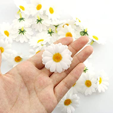 Tegg Fabric Daisy Flower Head 100PCS 1.5Inch White Artificial Gerbera Fake Flowers Heads for Wedding Party and DIY Craft