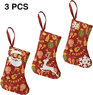 Leisue Mexican Cactus Guitar 3 Pcs Christmas Stockings Sock Decoration for Holiday
