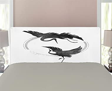 Lunarable Crane Headboard, Dancing Cranes in a Japanese Style with a Hieroglyph and Halo, Upholstered Decorative Metal Headbo