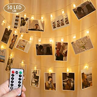 OASMU Christmas Decoration Style Clip String Light Dimmable 50 LED Photo Clips String Lights Dual Powered Choice Fairy Lights for Hanging Photos Pictures Cards Memos for Bedroom