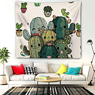 Sunshine ERosIon Tapestry Wall Hanging, Hippie Bohemia Tapestries Unique Designed Bedding Dorm for Girls Lady Men Free hugs Succulent Plants Cartoon Image Potted (60inch51inch)