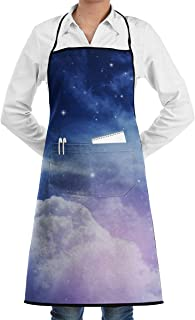 zhua1 Night Sky with Cloud and Stars Adjustable Personalized Apron with Pockets,Men & Women Cute Bib Apron for Cooking Baking Gardening,Black