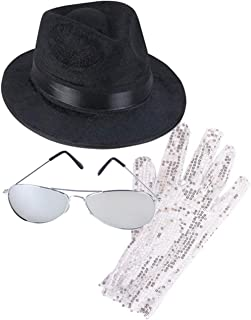 MJ Michael Jackson Costume Bundle With Fedora Hat Glove and Sunglasses