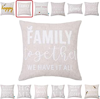 Embroidery Throw Pillow Covers Quotes Decorative Pillow Covers with Quotes Family 18x18 Cushion Covers Happy Home Quote Pillow Cover for Couch Sofa Farmhouse