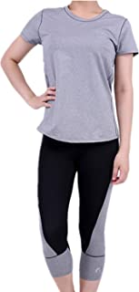 2 Pieces Sets Stretch Activewear Women's Gym Yoga T-Shirt and Leggings Pants Workout Outfit