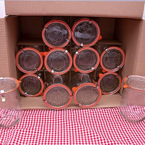 flaschenbauer.de WECK 12er Set 1L Einmachgläser zum befüllen - Weckglas Tulpenglas als Marmeladenglas, Sturzglas, Einkochglas oder zur Aufbewahrung von Jogurt, Milch oder Anderen Lebensmittel