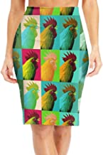 Antonia Bellamy Pop Art Farm Chicken Women's High Waist Stretchy Knee Length Bodycon Midi Pencil Skirt