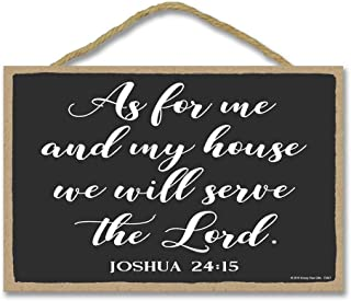 Honey Dew Gifts Christian Wall Decor, As for Me and My House We Will Serve The Lord 7 inch by 10.5 inch Christian Sign, Decor, Wall Art, Home Decor