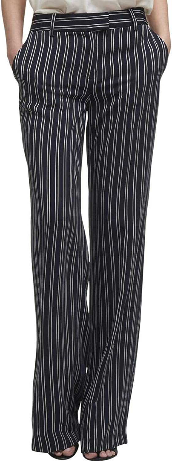 DKNY Womens Striped Business Wide Leg Pants