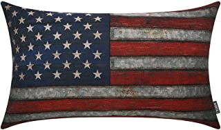 TRENDIN Decorative Throw Pillow Cover 20x12 inch Fourth of July American Flag Cushion Case Rectangular Shape PL297TR