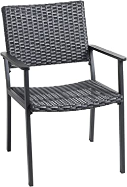 C-Hopetree Patio Dining Arm Chair - All Weather Outdoor Wicker - Black - Qty 1