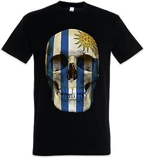 Urban Backwoods Classic Uruguay Skull Flag Camiseta De Hombre T-Shirt