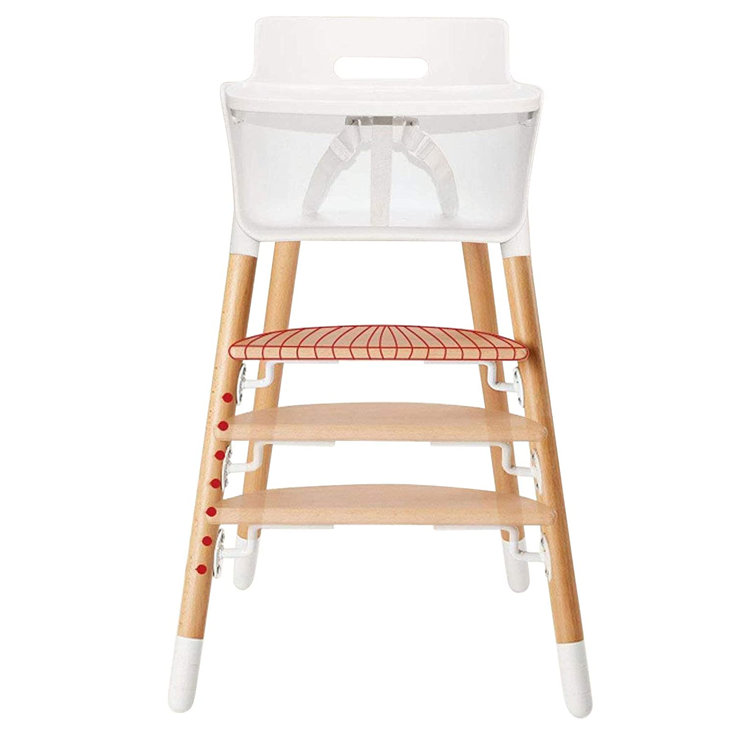 High Chair Modern High Chairs for Babies and Toddlers Wooden Dining Table Chair Adjustable Feeding Solution with Tray, Easy Care Baby Chair in White