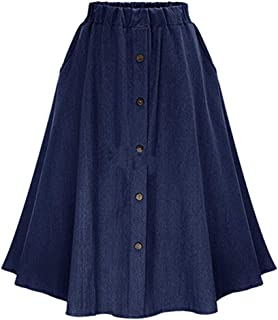 Womens Stretchy High Waist 5-Buttons Front A-Line Flowy Midi Skirts