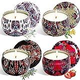 Set de velas con aroma 4 latas, cera natural de soja natural, decoración para el hogar velas de hojalata sin humo, día de la madre regalos de cumpleaños de Navidad