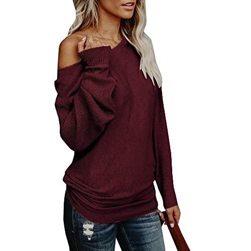 6f16e99c6af2 Umeko Womens Off The Shoulder Sweater Oversized Knit Long Sleeve Sweaters  Tunic Tops