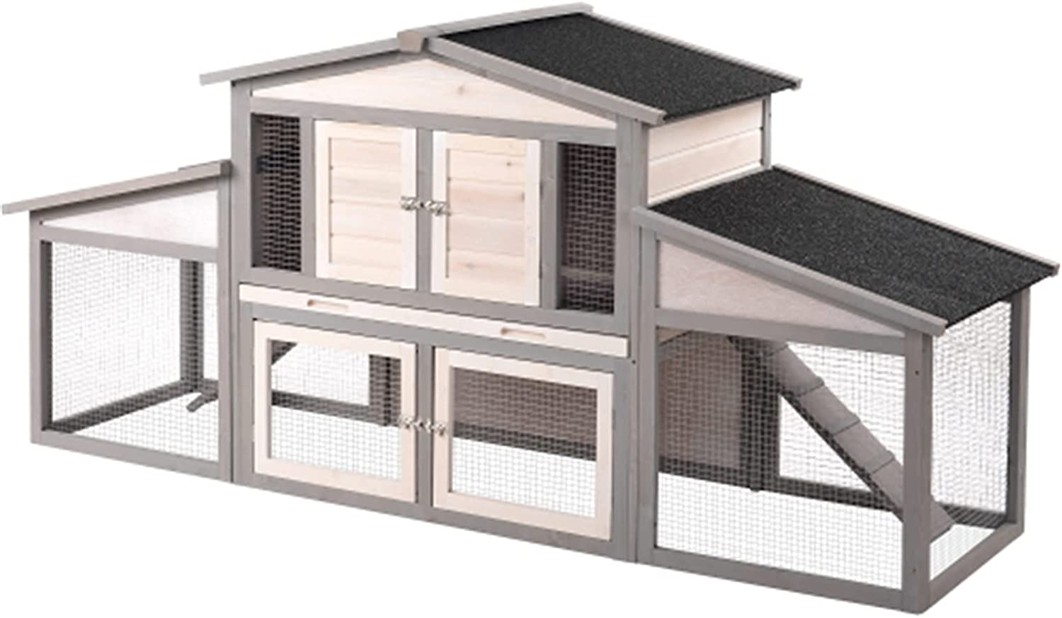 Sales results No. 1 JITUO 88.2'' Upgraded Large low-pricing Wooden Chicken Hutch Rabbit Coop Sma