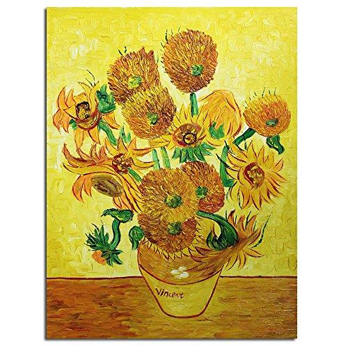 Fokenzary - Óleo sobre lienzo pintado a mano, obra clásica Los Girasoles de Vincent van Gogh, enmarcado y listo para colgar, decoración de pared, combinación de paneles, lona, 20x24in