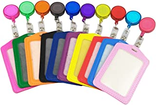 yueton Pack of 10 Leather ID Badge Card Holder with Retractable ID Badge Reel